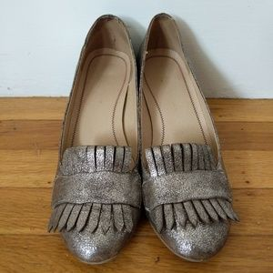 Golden fringed loafers shoes sz 6.5 W 37